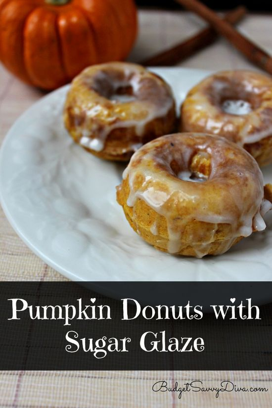 Perfect for Fall!!! Pumpkin Donuts with Sugar Glaze Recipe - totally pin-able