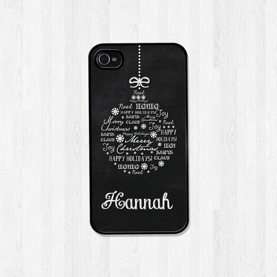 SALE Personalized Phone Case iPhone 5 Case iPhone 5S Case iPhone 4 Case Christmas Ornament Chalkboard Monogram Christmas Gift (410) on Etsy, $13.56