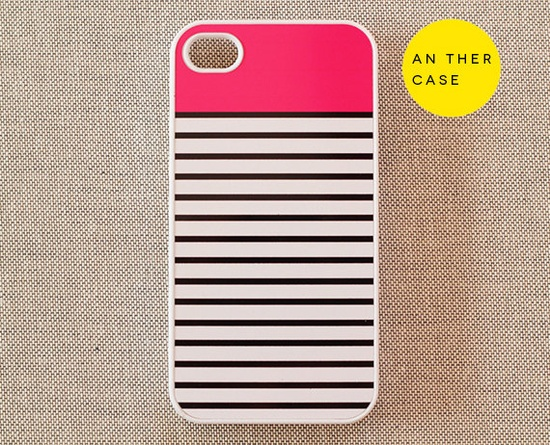 iPhone 4 case, iphone 4s case - colourful, abstract, stripes, pink, white, black. $14.99, via Etsy.