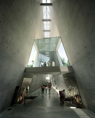 architecture & interior design of the Holocaust History Museum in Jerusalem, Israel.