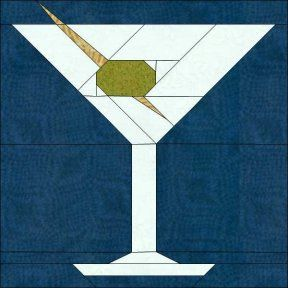 Martini paper piecing #quilt block pattern