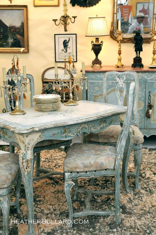 pretty pale blue furniture pieces.