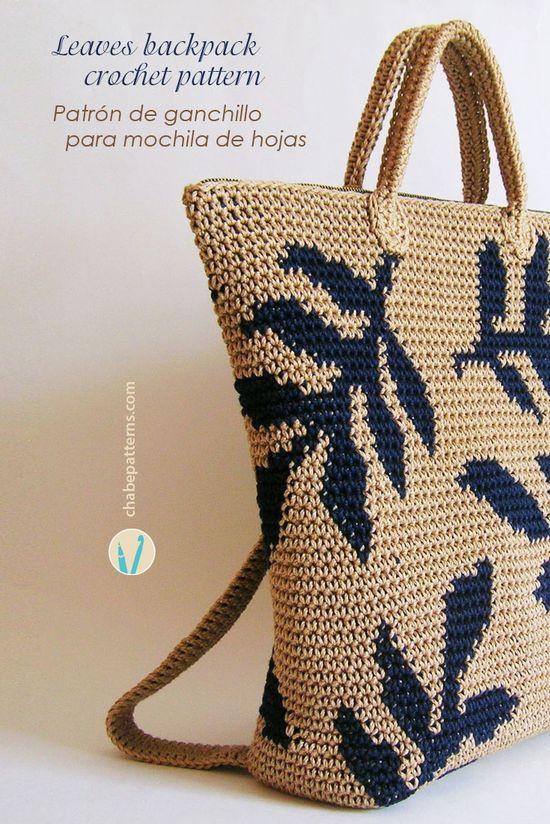 Crochet pattern for leaves backpack, charts with symbols and written instructions/ Patrón de gancho para mochila de hojas, esquemas con símbolos e instrucciones escritas by Chabepatterns