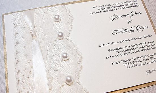 Lace and pearl invites