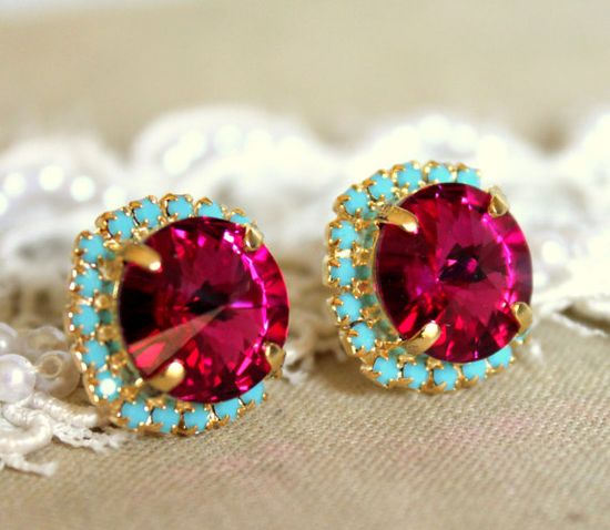 Pink turquoise Stud earrings Rhinestones Crystal big by iloniti, $41.00