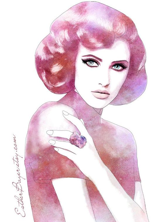 'Wonder' -Glamorous Vintage Style Watercolor Fashion Illustration by EstherBayer, $32.50
