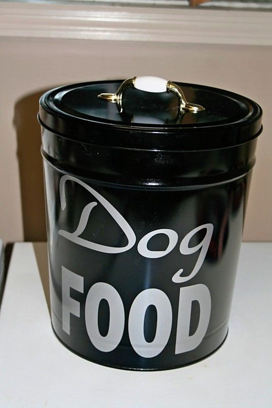 diy cute dog food storage bins. Black Bedroom Furniture Sets. Home Design Ideas
