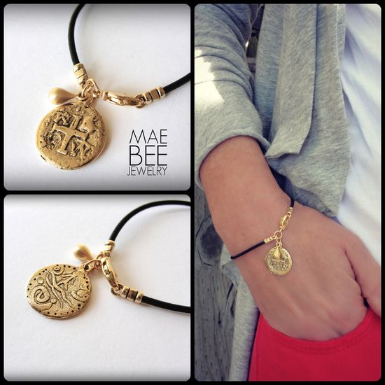 New design! #Gold Pewter Pieces of Eight #Coin on Leather #bracelet from JewelryByMaeBee on #Etsy. www.jewelrybymaeb...