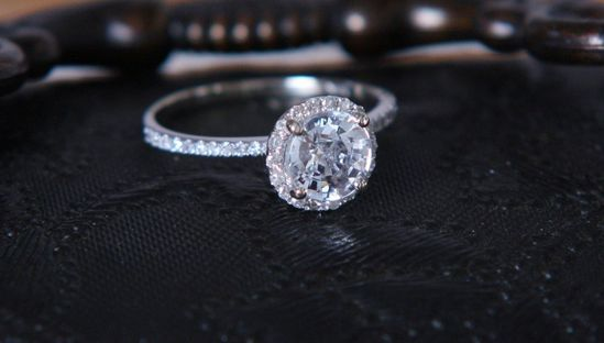 White sapphire diamond engagement ring. $1,100.00, via Etsy.