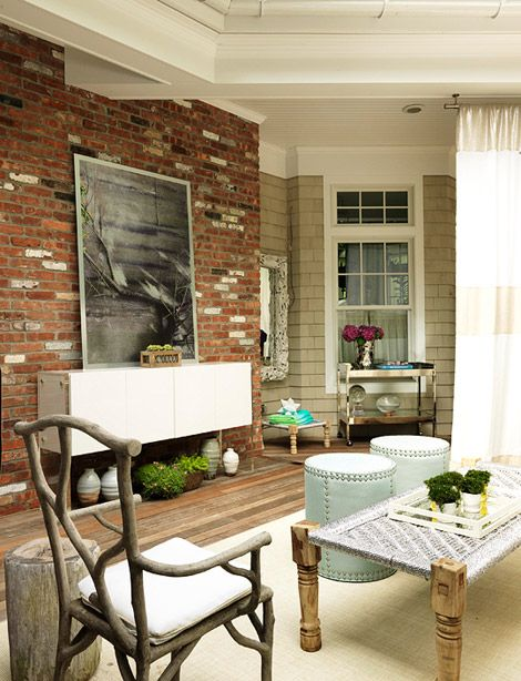 Brick + siding + white trim (hard to find - and our house has something similar).