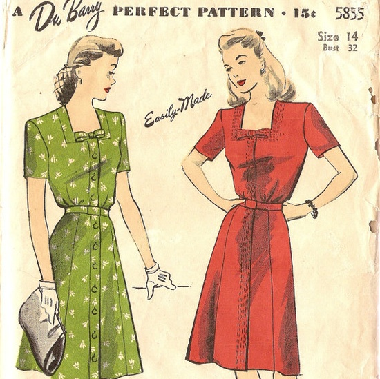 1940s DuBarry 5855 Misses Dress Pattern Bust 32 by CherryCorners, $15.00