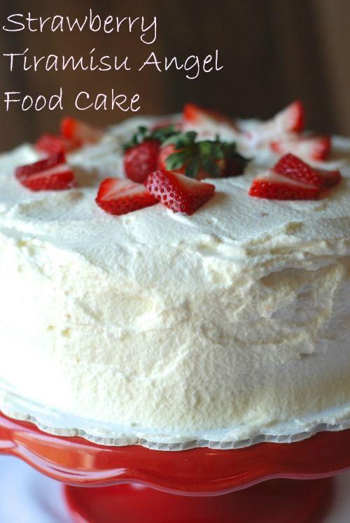 Strawberry Tiramisu Angel Food Cake