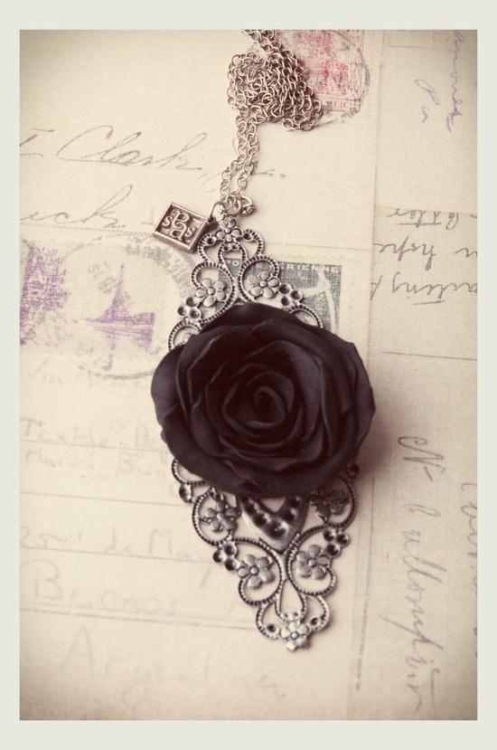 Rose Pendant  Handmade Roses