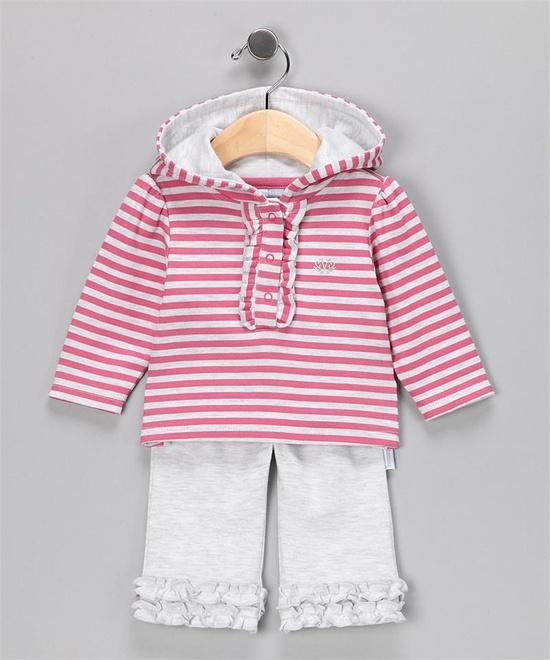 Vitamins Baby Hooded Pant Set Grey Stripe