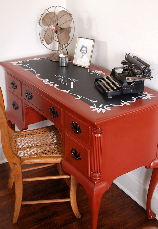 Red chest/desk with chalkboard top.