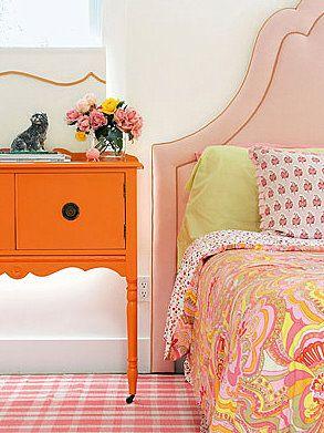 pink & orange girls bedroom.