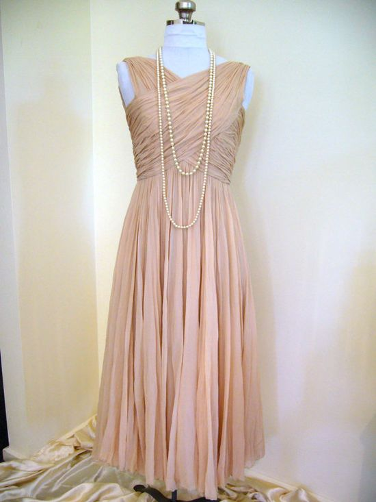 1950s Ruched Halter Nude Silk Chiffon Dress