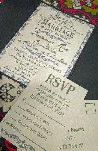 Vintage Damask Wedding Invitation Suite