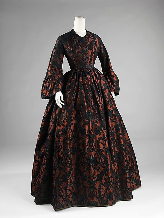 elegant lace dress from the 1860s is giving off. #Victorian #dress #1800s #vintage #antique #costume #historical #clothing #lace #black #orange
