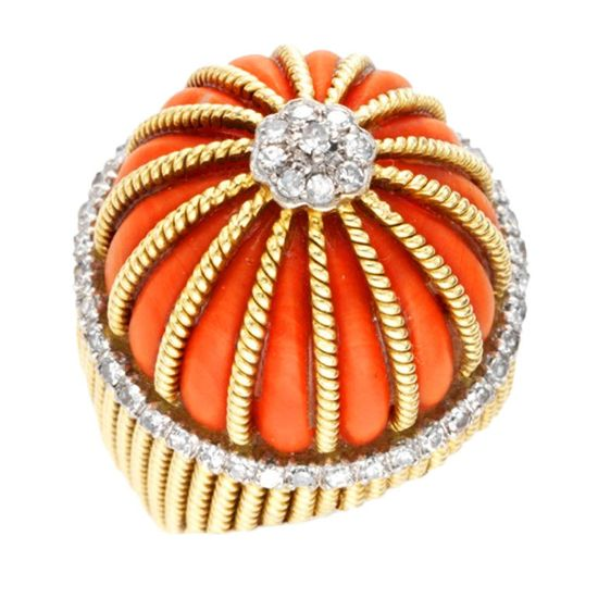 CARTIER~ Coral & Diamond Cocktail  Ring in 18kt Yellow Gold...