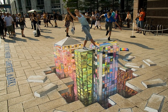 3d city chalk drawing