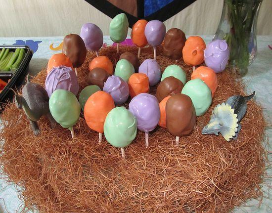 Dino egg cake pops!