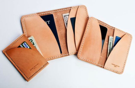 """Kenton Sorenson Wallet. These slim leather crafted wallets are great for guys who detest the ever unpopular """"bulging-wallet-pocket."""" It's the wallet's answer to the money clip. ($85+)"""