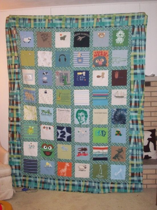 Baby clothes quilt made out of onesies.  This is a twin size quilt made from 48 items.  Custom order.
