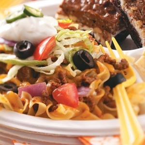 Taco Noodle Bake Quick Dinner Recipe from Taste of Home -- shared by Judy Munger of Warren, Minnesota