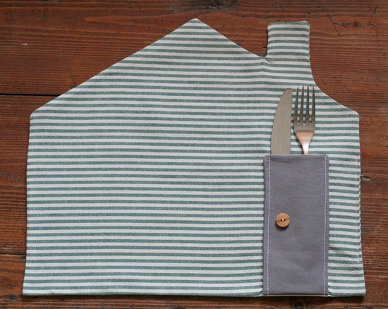placemat - green & white stripes via Etsy.