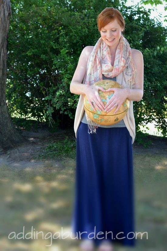 """IF WE EVER DECIDE TO GO THIS ROUTE....Adoption """"Maternity"""" Pics! I love this idea using the globe, placing a heart around the country your baby is, instead of the tummy! What a beautiful picture of adoption! FINALLY, so many pregnancy pictures on facebook, so glad to see at least one for those of us that grew our families in a different way! @Camille Erica omg I just teared up a little bit!"""