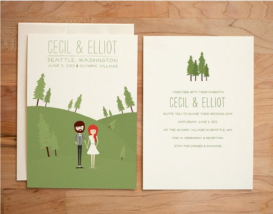 Illustrated Wedding Invitation Set - Custom Couple - Cecil & Elliot, $80.00