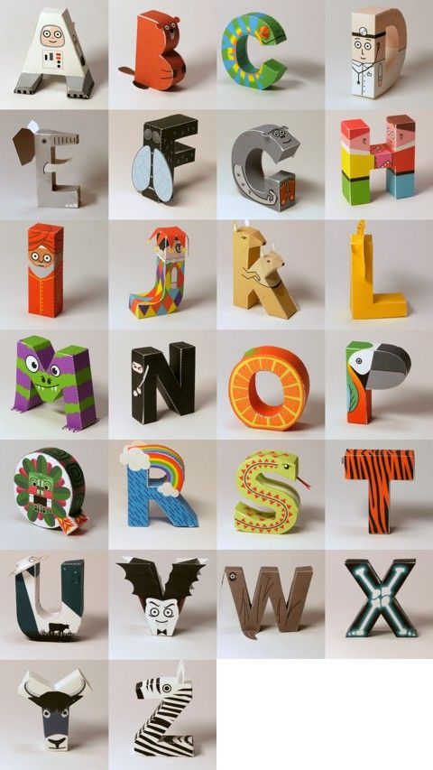 An entire 3D paper alphabet to print and assemble; each of the 26 characters is a person, animal or object whose name starts with that letter.  Free!