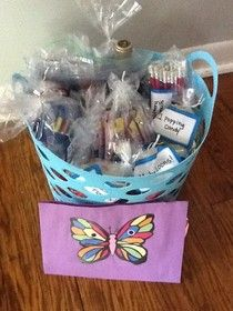 Great idea for a birthday present!  If the birthday person is 25, give a basket of 25 packages with 25 items in each package.  They can be silly, serious or practical.  Great idea....hello, Dollar Store!