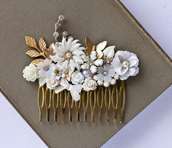 Bridal Hair Comb  Gold Floral Bridal Hair Accessories by lonkoosh, $96.00