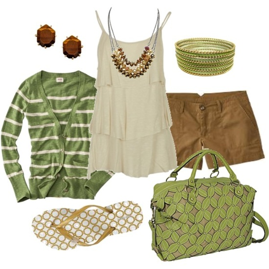green & brown, created by #htotheb on #polyvore. #fashion #style Old Navy Kendra Scott