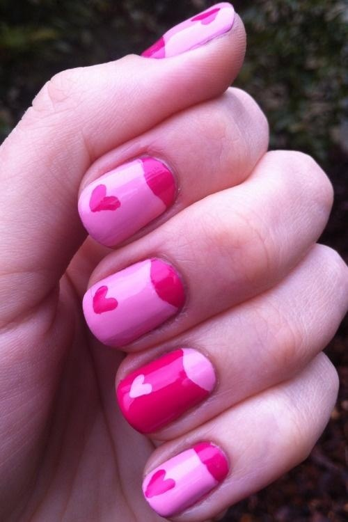 cute pink and red heart nails