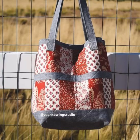 Patchwork bag video tutorial using jelly roll strips with bonus matching little pouch