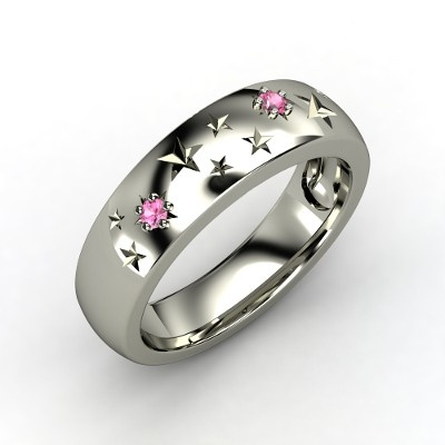 14K White Gold Ring with Pink Sapphire