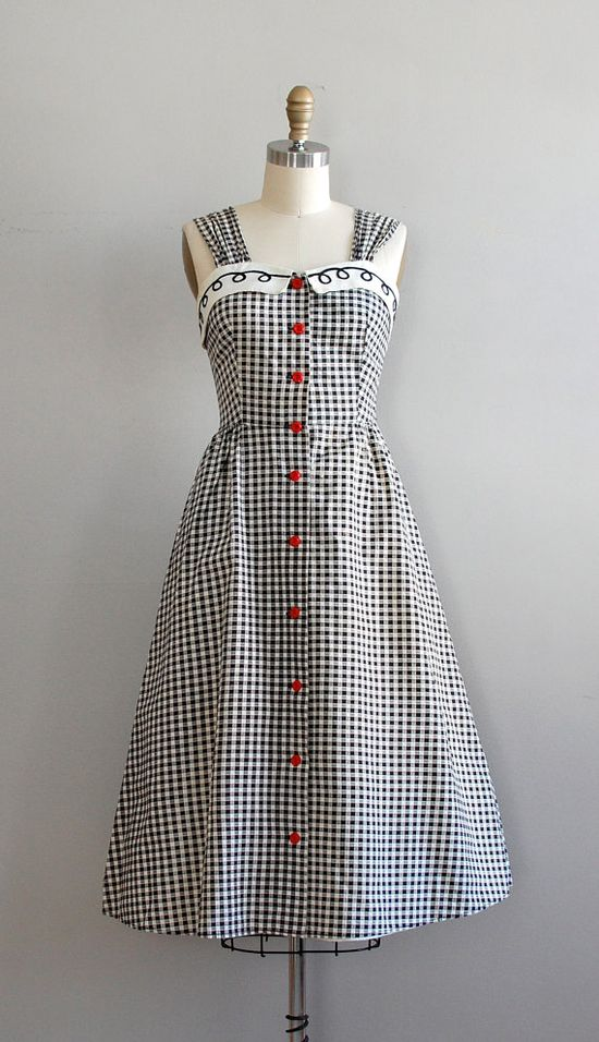 1950s gingham dress with cropped jacket #summer #fashion #plaid #1950s #partydress #vintage #frock #retro #sundress #tartan #checkered #feminine