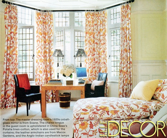 Work space/guest bedroom combo....love those windows and drapes!