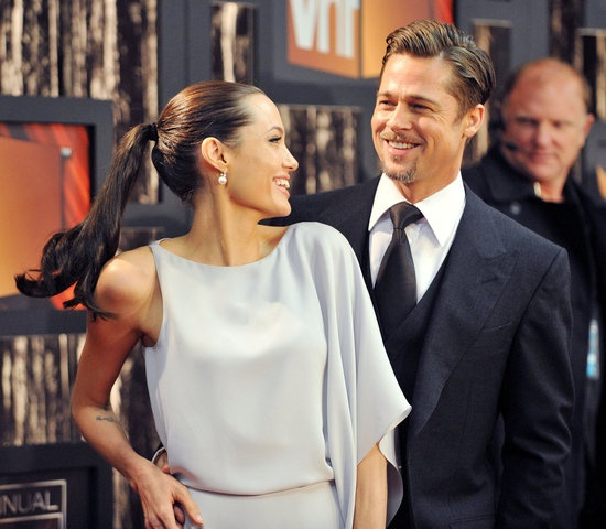 #BradPitt and #AngelinaJolie shared a laugh on the red carpet at the 2009 Critics Choice Awards. #hot #celebrity #couple