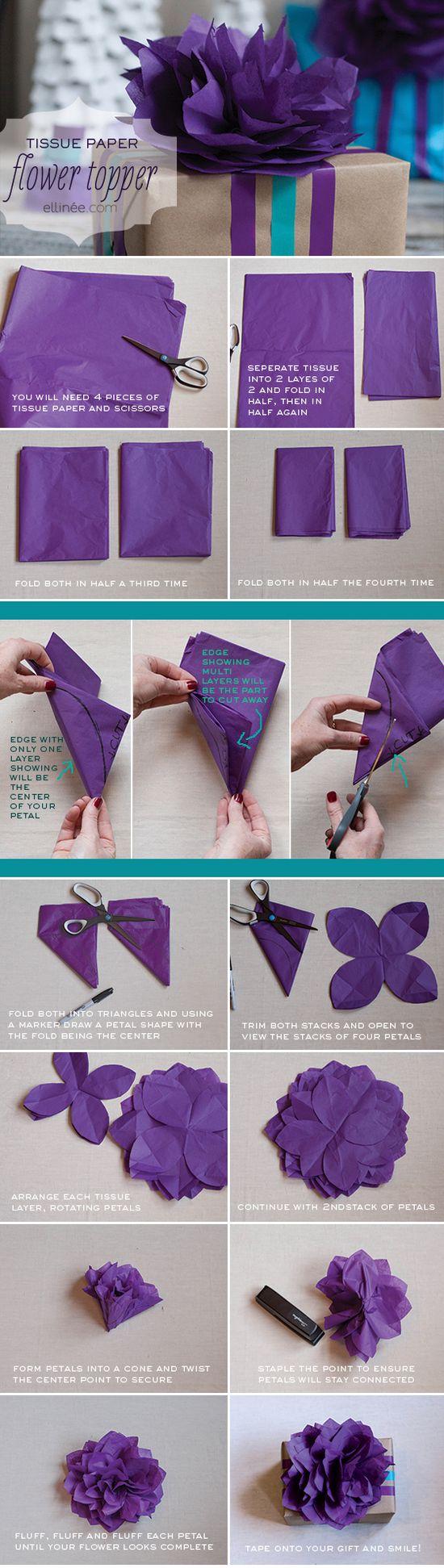 DIY Tissue Paper Flower, Gift Wrap Topper, Tutorial, DIY – flowers garland,Cool