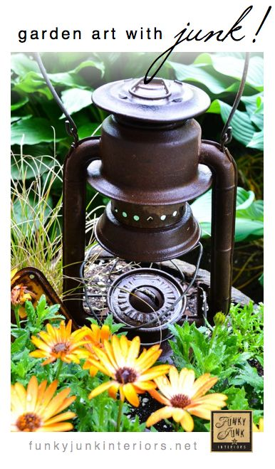 Creating garden art with JUNK - tips on personalizing your flowerbeds with your favorite rusty relics - via Funky Junk Interiors