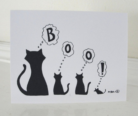 Halloween Cat Card Halloween Boo Black and White Silhouette Greeting Card. $3.00, via Etsy.