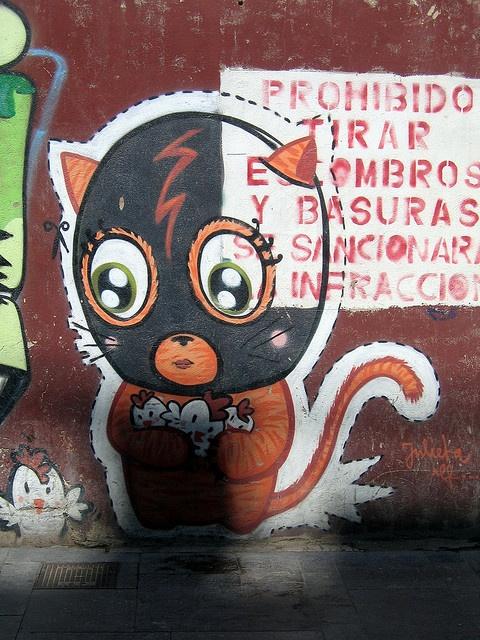 Cat mural, Valencia. street art 000