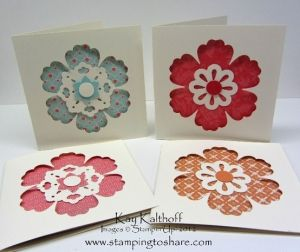 handcrafted notecard set ...  flower punch negative space flower punch backed in pretty paper, a punched center and a dot of color ... luv it! ... Stampin' Up!
