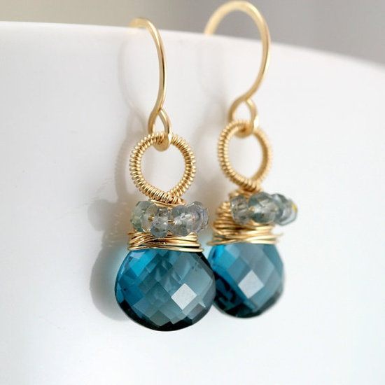 London Blue Topaz and Sapphire Wire Wrapped Earrings #jewelry