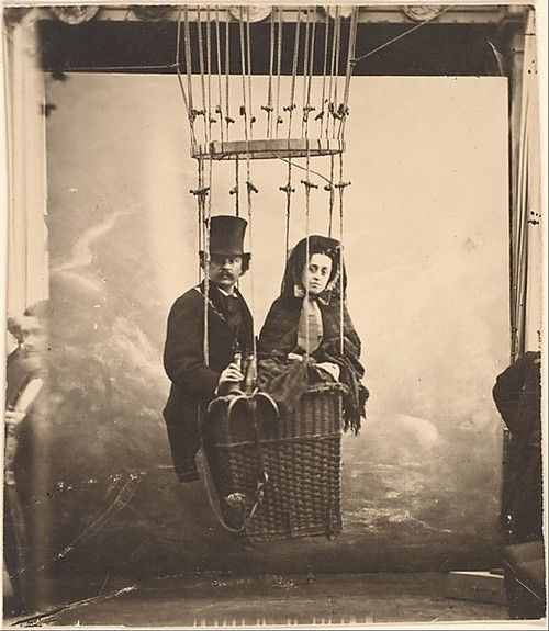 Photographer Nadar with His Wife, Ernestine, in a Balloon. 1865.