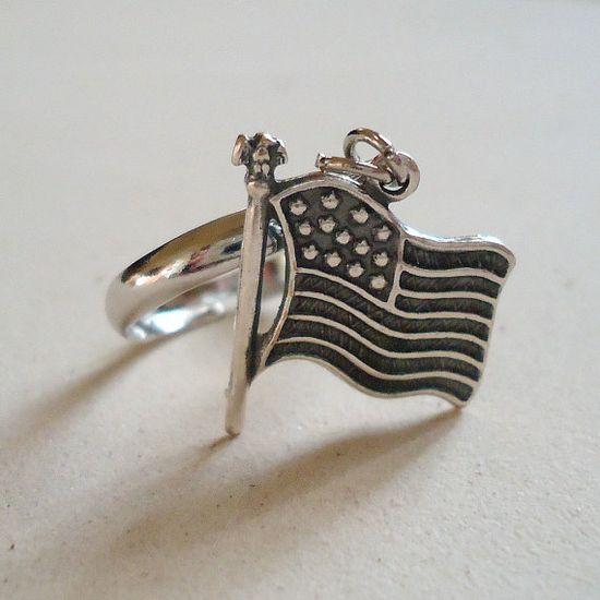Flag Ring Silver Jewelry USA Patriotic Jewellery July by cdjali, $10.00